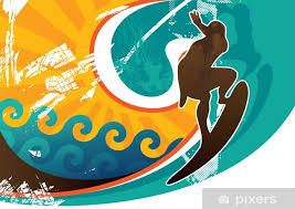 artistic retro surfing poster wall