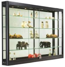 ... Wall Mounted Display Shelves Collectible Black Stained Wooden Shelf  With Clear Glass Shelf Wall Mounted Display ...