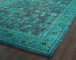 endearing teal area rug furniture light blue peacock feather overdyed mae cool at studio
