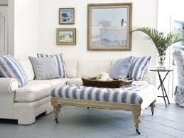 beach cottage with blue and white striped upholstered coffe table ottoman upholstered coffee table diy