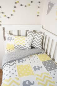 elegant elephant toddler bedding patchwork nursery set yellow and grey elephants grey minky quilt