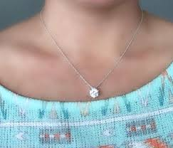 I really like this.. #classydiamondnecklace | Silver necklace prom,  Solitare diamond necklace, Diamond necklace simple