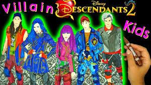 Disney Descendants 2 Color Mal Evie Jay Carlos Ben A Wickedly
