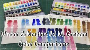 Winsor Newton Vs M Graham Color Comparison Review Watercolor Watercolour