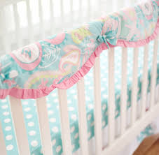 aqua and pink paisley crib rail cover guard pixie baby in aqua crib collection