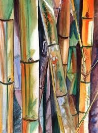 bamboo garden original water painting from kauai hawaii by