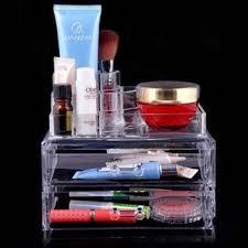 acrylic 2 drawers cosmetic organizer makeup storage box