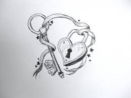 lock and key drawing. Fine And 3D Heart Lock And Key Tattoo Design With Drawing N