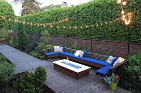 comfortable patio with string lighting decoration idea