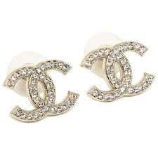 chanel earrings price. chanel earrings chanel a64750 cc line coco make rhinestone gold / clear price