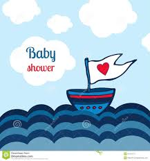 Clouds Design Baby Shower Card With Ship Sea And Clouds Design Vector Kids Toys