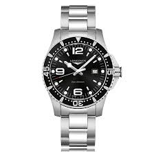 longines watches the watch gallery® longines hydroconquest quartz stainless steel black dial mens watch l38404566