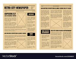Vintage Newspaper Template Free Vintage Newspaper Template Sheets Set Royalty Free Vector