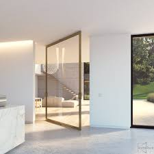 Large Glass Pivot Door With A Bronze Anodized Aluminium Frame And - Exterior pivot door