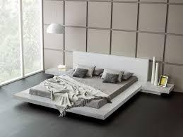 white modern platform bed. Fujian Modern Platform Bed (Ash White) White H