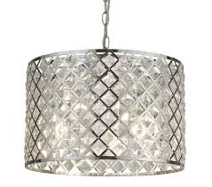 searchlight tennessee 3 light drum pendant chrome finish with crystal glass 4423 3cc