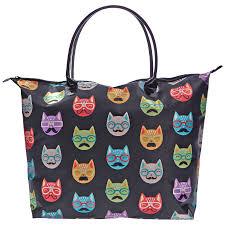 black satin cat print tote bag sally