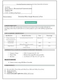 Ms Word Resume Templates Free Internship Resume Template Free
