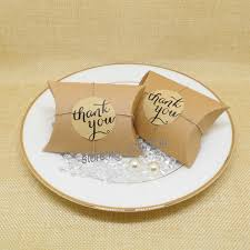 thank you tags for wedding favors 96pcs lot kraft pillow candy box with thank you tag sticker wedding