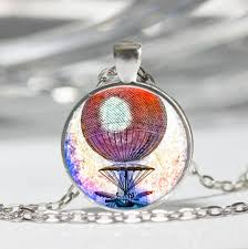 hot air balloon tibet silver dome glass cabochon necklace chain pendant 246