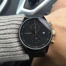 tayroc watches luxury chrono matte black gold men 039 s luxury image is loading tayroc watches luxury chrono matte black gold men