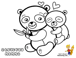Small Picture Mothers Day Coloring Page of Momma and Baby Panda Bears You Can
