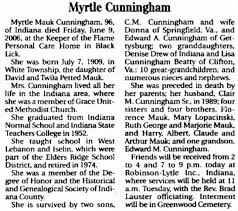 Myrtle Cunningham obituary-Indiana Gazette-12Jun2006 - Newspapers.com