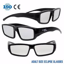 Plastic Solar Eclipse Glasses w Carry Case  Adult Size  Cool Style and  Look