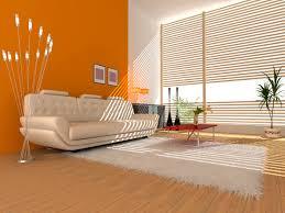 Living Room:Interior Of A Hall With A Soft Zone Orange Color Living Room