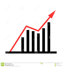 Trending Graph Up Trending Business Graph Isolated On White Stock Vector
