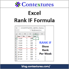 Rank Functions Excel Excel Rank If Formula Example Contextures Blog
