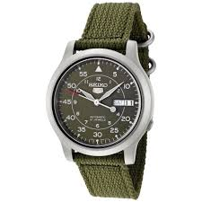 seiko snk805 men 039 s canvas band green dial automatic day date cloud zoom small image