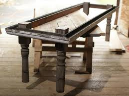 making a dining room table the frame structure of the rustic table showing the
