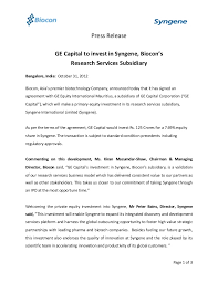 ge capital customer services ge capital to invest in syngene biocons research services subsidia