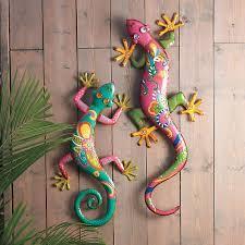 large gecko wall art set of 2 outdoor metal lizard patio colorful garden decor