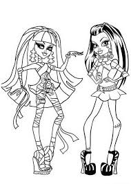 Small Picture Cleo de Nile and Frankie Stein Monster High Coloring Page Cleo