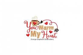 Orange Elephant Embroidery Designs You Warm My Heart Unique Urban Machine Embroidery Design Digital File