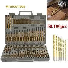 <b>50/100 Pcs</b>/<b>Set</b> Twist Drill <b>Bit Set</b> Saw Set High Steel Titanium Coated