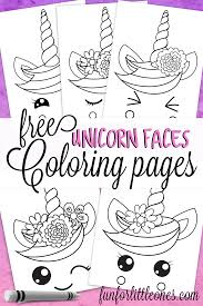 Unicorn Faces Coloring Pages For Kids Free Printable