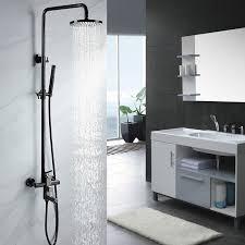 exposed shower system. Single Handle Black Nickel Exposed Rain Shower System \u0026 Tub Spout Adjustable Height