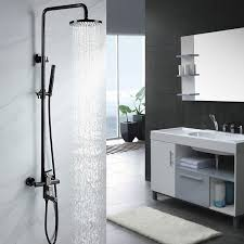 single handle black nickel exposed rain shower system tub spout adjule height
