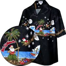 Santa Christmas Hawaiian Shirt Black