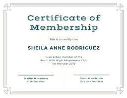 Club Membership Form Template Club Membership Template Compass Membership Certificate Club