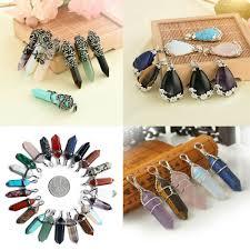 details about crystal healing point pendant natural gemstone hexagonal quartz for necklace diy
