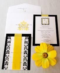 Black And White Invitation Paper Wedding Invitations Black White Yellow Damask Inspired