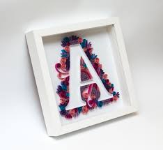 latest quilling art quilled monogram letter a initial personalized gift pertaining to framed monogram wall art on framed monogram letter wall art with displaying gallery of framed monogram wall art view 11 of 15 photos
