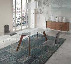 view larger gallery vienna contemporary glass top dining table in walnut rectangle or oval top