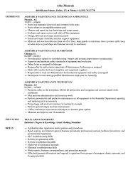 Assembly Maintenance Resume Samples Velvet Jobs