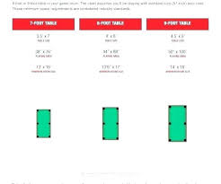 Pool Table Sizes Chart Minimum Room Size For Pool Table Waleoyerinde Info
