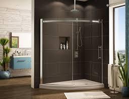 curved shower base with curved glass shower enclosure slice design